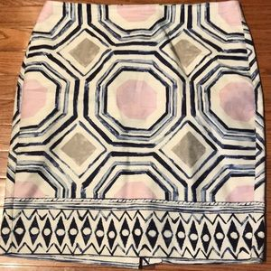 Ann Taylor LOFT Skirt Sz 12 Blue Geometric Design